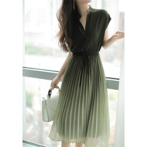 YF58847# 渐变绿色立领收腰设计百褶雪纺连衣裙女夏中长款 服装批发女装直播货源