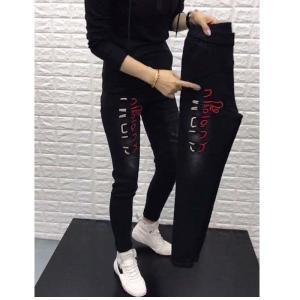 CX6661# 最便宜服装批发 时尚牛仔裤女刺绣松紧腰哈伦裤韩版小脚老爹裤长裤