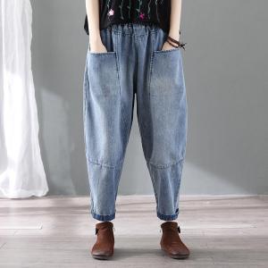 CX6476# 最便宜服装批发 复古做旧大口袋牛仔哈伦裤女宽松萝卜裤夏秋九分裤子