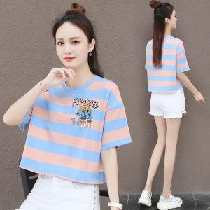 CX6475# 最便宜服装批发 纯棉短袖T恤女圆领休闲宽松洋气显瘦条纹短款上衣潮