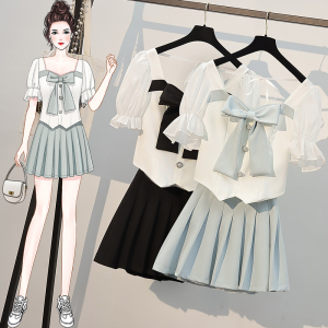 YF57933# 大码女装夏装新款胖m时尚遮肉显瘦减龄炸街上衣短裙套装 服装批发女装直播货源