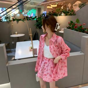 YF58167# 上新夏薄款长袖防晒衬衣短裤套装 服装批发女装直播货源