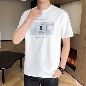 YF57986# 夏季新款短袖T恤男士潮流印花体恤宽松大码ins半袖打底衫上衣 服装批发女装直播货源