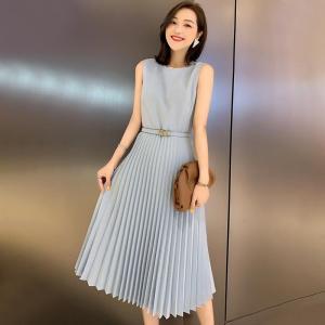 YF58623# 无袖西装连衣裙夏季新款中长款百褶法式时尚气质裙子 服装批发女装直播货源