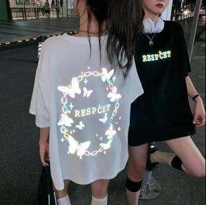 YF61479# 闺蜜装蹦迪上衣抖音网红同款发光反光蝴蝶2021夏季新款T恤女