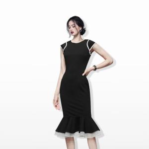 YF59099# 韩版夏季新款气质职业修身收腰显瘦中长款鱼尾连衣裙 服装批发女装直播货源