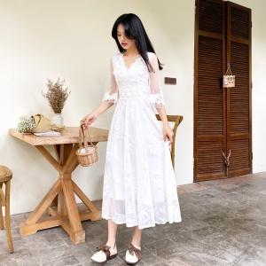 YF61859# 初秋新款白色显瘦减龄清新气质重工公主裙法式连衣裙 服装批发女装直播货源