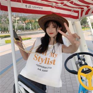 YF58837# 小个子无袖T恤减龄上衣女夏 服装批发女装直播货源