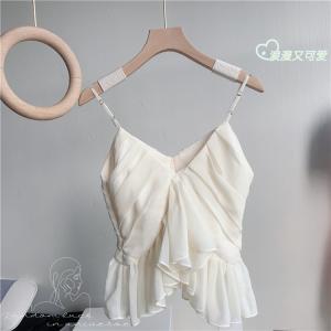 YF62791# 波点吊带背心收腰显瘦纯色上衣夏 服装批发女装直播货源