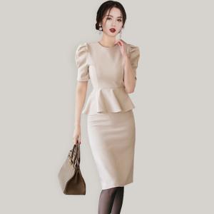 YF59095# 设计感小众气质高端职业包臀裙夏季新款女短袖假两件套连衣裙 服装批发女装直播货源