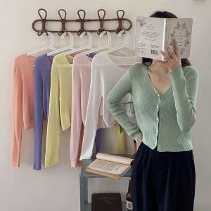 CX6042# 最便宜服装批发 夏季新款冰爽丝防晒针织衫薄款V领长袖开衫女