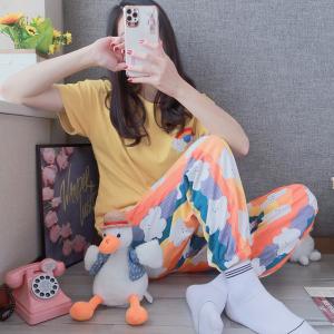 YF61653# 彩虹短袖长裤精梳棉罗纹坑条韩版休闲可外穿家居服 服装批发女装直播货源