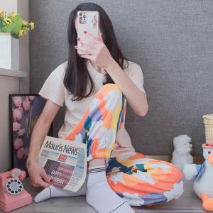 YF61655# 彩虹短袖长裤精梳棉罗纹坑条韩版休闲可外穿家居服 服装批发女装直播货源