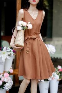 YF59481# 减龄显瘦系带无袖连衣裙女装夏季新款V领优雅简约A字裙潮 服装批发女装直播货源