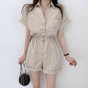 YF66362# 韩国chic复古翻领单排扣大口袋抽绳收腰短袖休闲连体裤短裤女