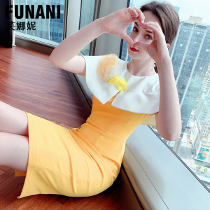 YF59309# 新款轻奢气质名媛斗篷印花设计感收腰减龄连衣裙女夏 服装批发女装直播货源