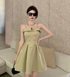 YF61677# 气质翻领吊带裙子女设计感小众收腰吊带连衣裙 服装批发女装直播货源