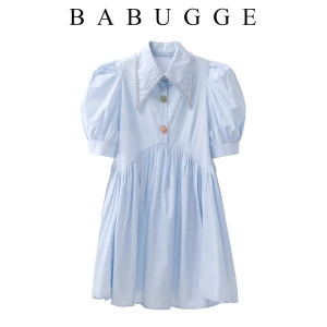 YF63661#  夏季新款钉钻尖领泡泡短袖娃娃款短裙衬衣裙连衣裙显瘦女 服装批发女装直播货源