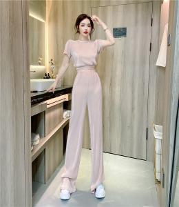 YF61682# 气质女王范短袖圆领短款上衣+长裤两件套装 服装批发女装直播货源