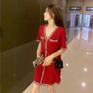 YF60094# 红色连衣裙新款女夏法式高端小香风针织时尚名媛v领气质裙子 服装批发女装直播货源