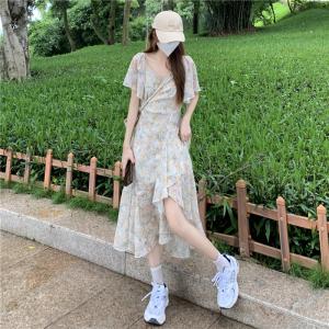 YF63123# 法式复古雪纺连衣裙女装夏季新款气质收腰显瘦碎花裙子