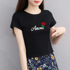 CX6466# 最便宜服装批发 纯棉短袖短款t恤女修身时尚韩版高腰显瘦黑色上衣女