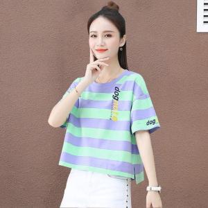 CX6465# 最便宜服装批发 100%纯棉条纹t恤韩版宽松时尚短袖短款百搭洋气上衣潮
