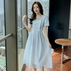 YF63059# 夏女装气质茶歇法式宫廷复古小众甜美仙女初恋森系连衣裙