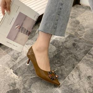 X-25904# 方扣单鞋细跟职业女高跟鞋 鞋子批发女鞋货源