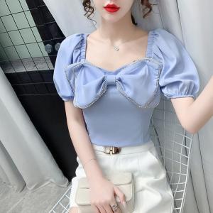YF61147# 韩版泡泡袖衬衫设计感镶钻蝴蝶结气质修身短款上衣女 服装批发女装服装货源