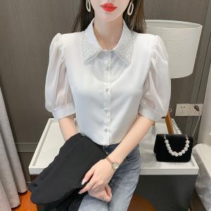 YF61154# 送链条夏季新款刺绣花边领设计感衬衫小心机显瘦小衫 服装批发女装服装货源