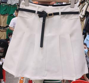 YF61286# 设计感小众黑色百褶裙短裙女半身裙新款高腰包臀a字裙配腰带 服装批发女装直播货源