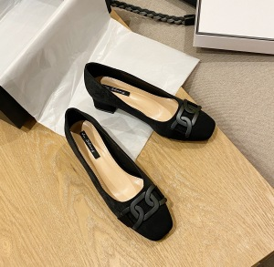 X-25906# 方头粗跟女鞋韩版单鞋 鞋子批发女鞋货源