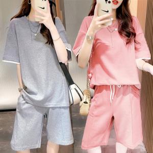 YF61688# 休闲运动风T恤套装女夏季韩版时尚短袖上衣五分中裤两件套潮 服装批发女装直播货源