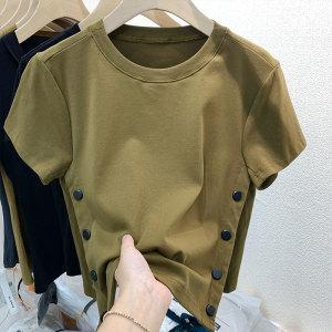 YF64025# 纯棉短袖t恤女修身夏季新款开叉高级设计感小众别致短款上衣 服装批发女装直播货源