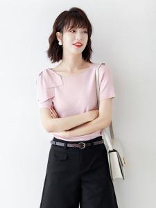 YF62818# 粉色针织衫女夏气质优雅设计感单侧飘带短袖套头上衣 服装批发女装直播货源