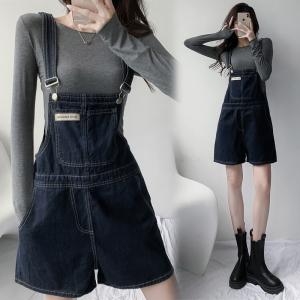 YF61482# 性感秋季新款牛仔背带短裤宽松减龄连体裤 服装批发女装直播货源