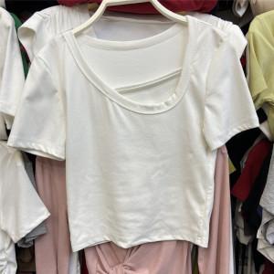 YF61298# 夏季新款韩版修身圆领短袖T恤学生设计小众休闲百搭上衣女潮 服装批发女装直播货源