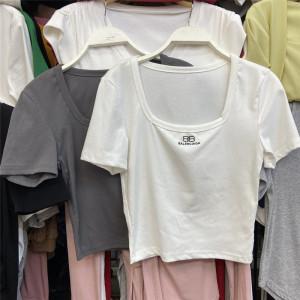 YF61299# 夏季新款韩风chic港味短款露脐别致上衣女设计感小众短袖t恤ins潮 服装批发女装直播货源
