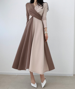 YF61478# 复古个性拼接撞色打结交叉长款法式连衣裙 服装批发女装直播货源