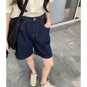CX6459# 最便宜服装批发 新款韩版宽松显瘦显高百搭深蓝色高腰A字阔腿牛仔短裤女