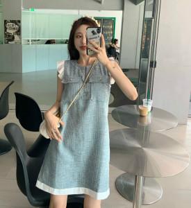 YF61680# 复古拼接气质减龄百搭香风连衣裙 服装批发女装直播货源