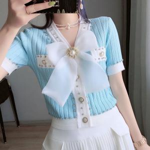 YF61687# 夏季新款时尚设计感小众亮片拼接针织衫开衫薄款短袖上衣女 服装批发女装直播货源