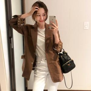 YF62712# 韩版单排扣简约显瘦休闲西服上衣女秋季新复古棉麻小西装外套