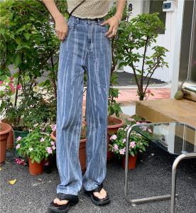 YF61930# 高腰牛仔裤女个性磨毛条纹直筒裤新款宽松显瘦大码垂感阔腿裤 服装批发女装直播货源