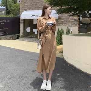 YF61948# 大码女装秋季胖mm新款长裙复古连衣裙收腰气质显高工装裙 服装批发女装直播货源