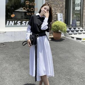 YF61950# 大码女装秋季新款气质女神连衣裙两件套收腰显瘦衬衫裙 服装批发女装直播货源