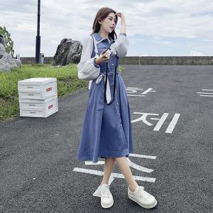 YF61952# 大码女装胖mm秋季新款法式复古小众长袖连衣裙气质显瘦 服装批发女装直播货源