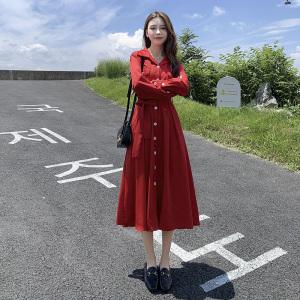 YF61949# 大码女装秋季新款红色法式复古连衣裙女长款收腰显瘦赫本裙 服装批发女装直播货源