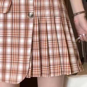YF61967# 新款时尚高腰复古格子裙不规则百褶裙显瘦半身裙女 服装批发女装直播货源